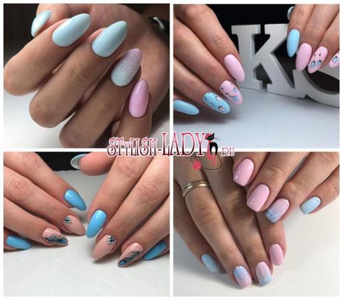 Маникюр с голубым и розовым лаком. Розовый или голубой? Не нужно выбирать! Весенний розово-голубой маникюр