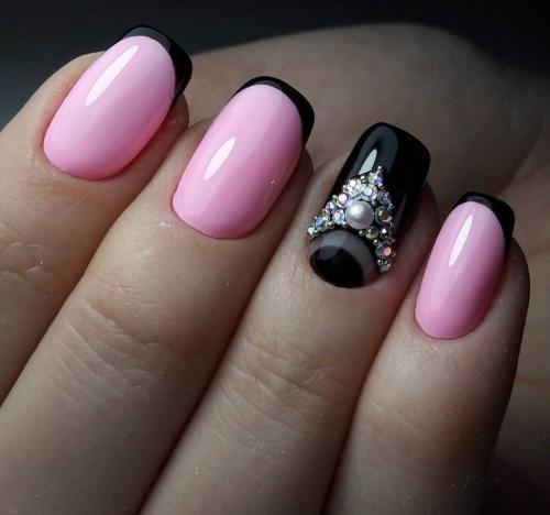 Ногти черный с розовым. Варианты сочетаний