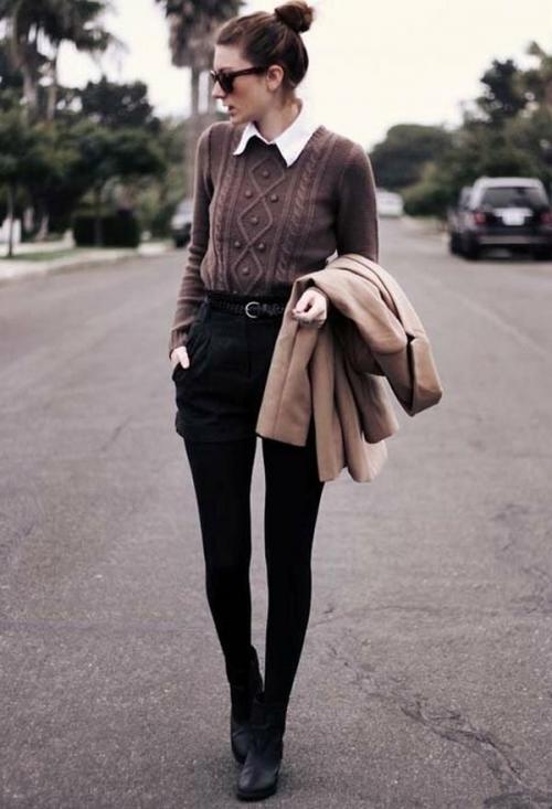 Как носить рубашку под свитером. Как стильно носить рубашку со свитером