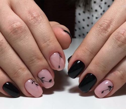 Модный черный дизайн ногтей 2020-2021: трендовый маникюр с черным лаком,  тенденции, фото-идеи | 433x500