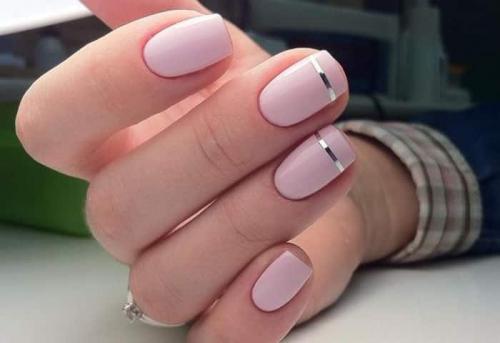 Маникюр нежно розовый с белым. Оттенки розового маникюра