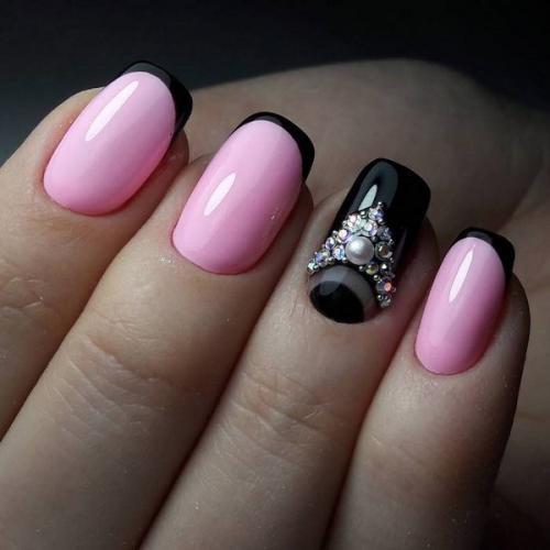 Повседневный маникюр гель лаком. Оригинальный дизайн ногтей гель лаком – стразы, блеск, акриловая пудра, камифубуки