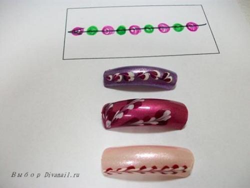 Пошагово рисунки на ногтях иголкой. Схемы рисунков иголкой на ногтях