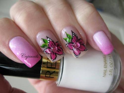 Нарисовать лилию на ногтях поэтапно. Роспись: лилии на ногтях