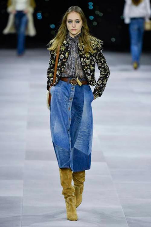 Джинсовая юбка с колготками 2020. Модные тенденции джинсовых юбок 2020-2021 на подиуме