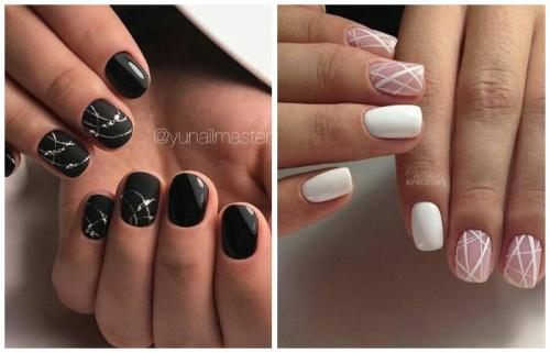 Как делать узоры на ногтях шеллаком. Маникюр шеллак: особенности дизайна на короткие ногти и длинные