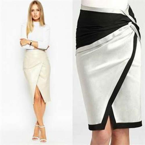 Серая юбка с запахом на пуговицах. Летние тренды 2020