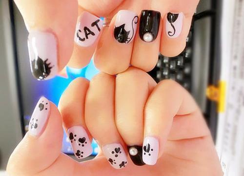Рисунки кошек на ногтях в домашних условиях