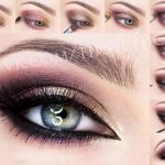 Восточный макияж.  1. нанесите фиолетовый оттенок на внешний уголок и на нижнее веко.