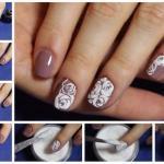 Рельефные розы манкой на ногтях?