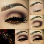 Вечерний макияж. 1 нанесите на подвижное веко матовые светлые тени.