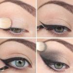 Макияж глаз.   1. покройте верхнее веко перламутровыми тенями кремового оттенка.